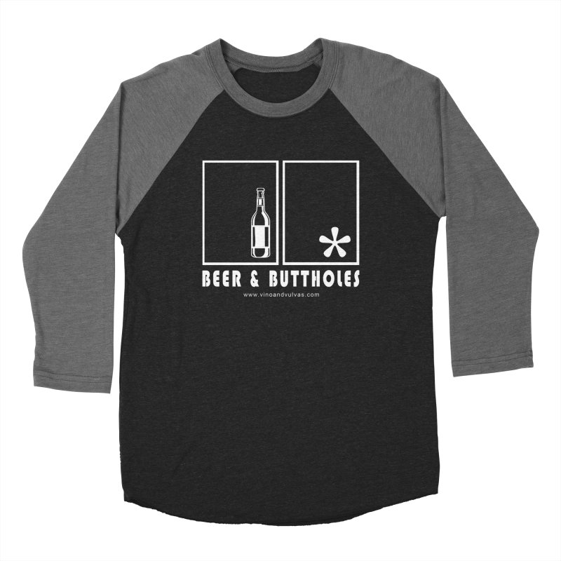 Beer & Buttholes (white logo) Men's Baseball Triblend Longsleeve T-Shirt by Vino & Vulvas Artist Shop