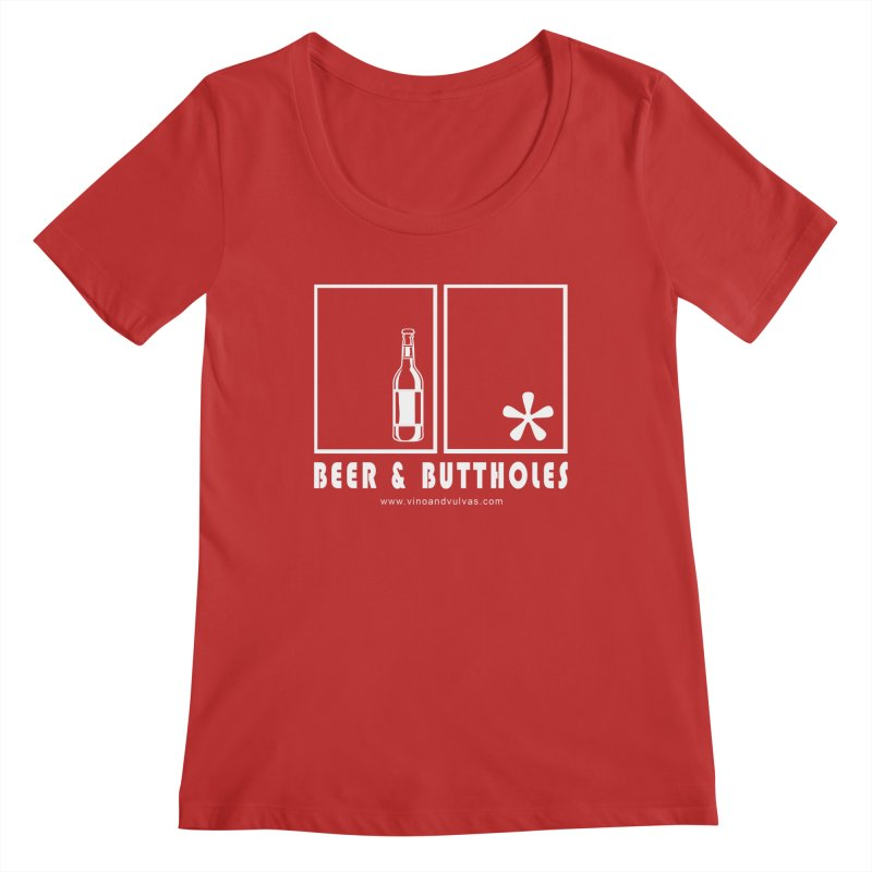 Beer & Buttholes (white logo) Women's Regular Scoop Neck by Vino & Vulvas Artist Shop
