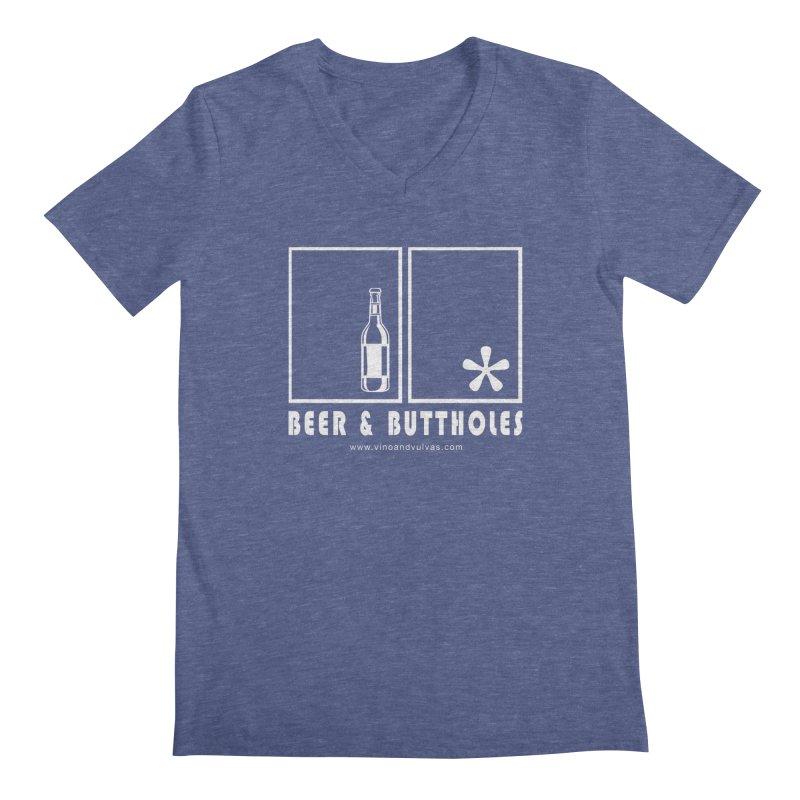 Beer & Buttholes (white logo) Men's Regular V-Neck by Vino & Vulvas Artist Shop