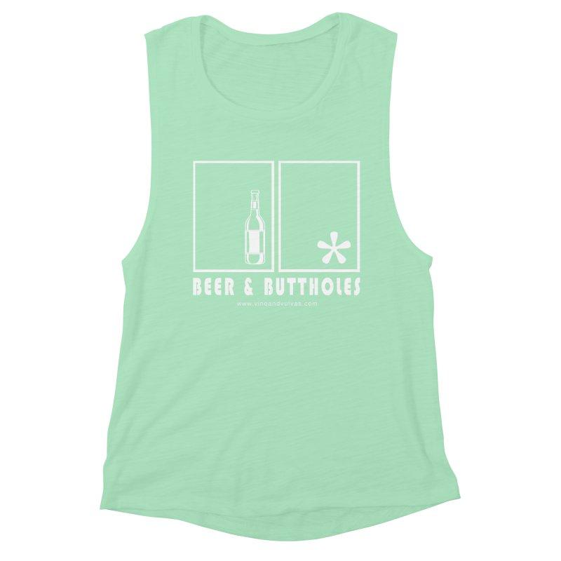 Beer & Buttholes (white logo) Women's Muscle Tank by Vino & Vulvas Artist Shop