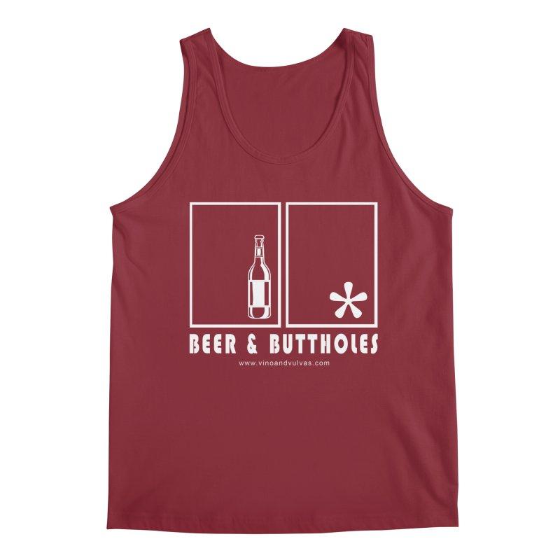 Beer & Buttholes (white logo) Men's Regular Tank by Vino & Vulvas Artist Shop