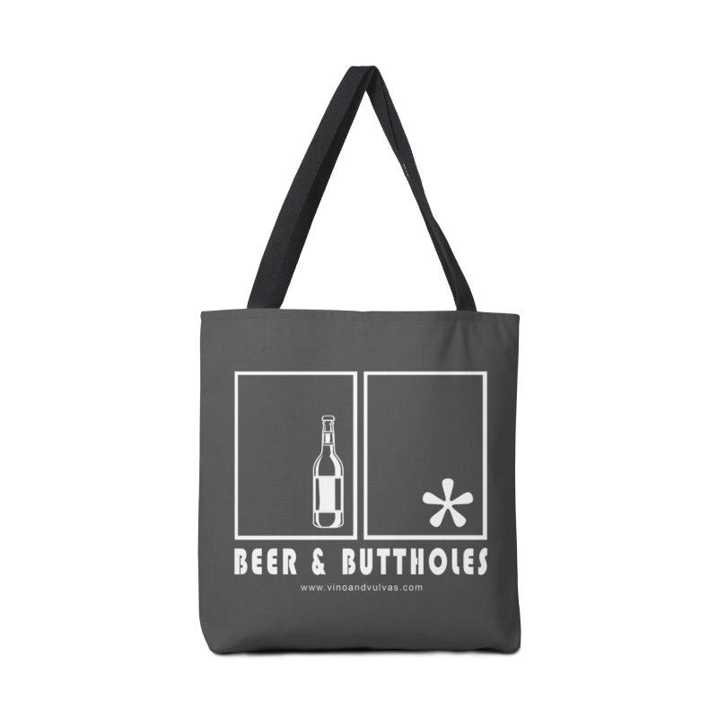 Beer & Buttholes (white logo) Accessories Tote Bag Bag by Vino & Vulvas Artist Shop