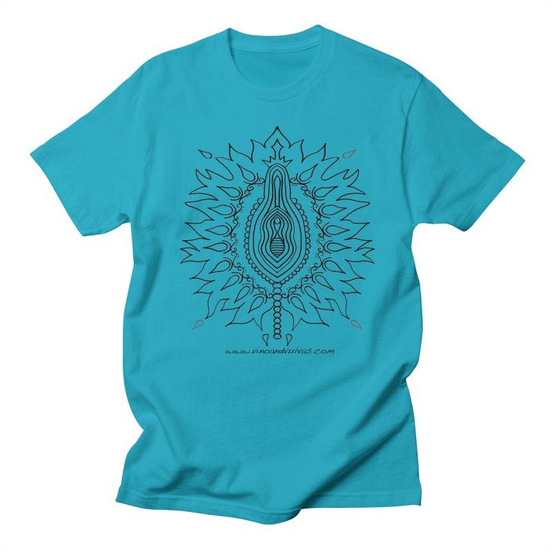 Fiery Clit Queen (black) Men's T-Shirt by Vino & Vulvas Artist Shop