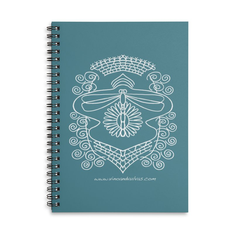 Dragonfly Vulva Accessories Lined Spiral Notebook by Vino & Vulvas Artist Shop