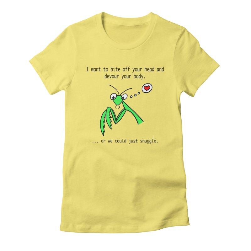 Mantis Love Women's Fitted T-Shirt by Vino & Vulvas Artist Shop