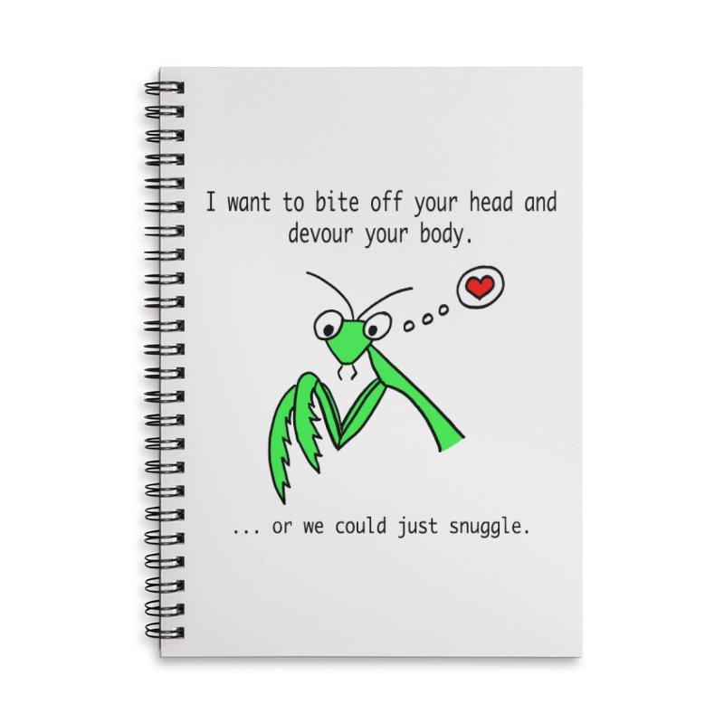 Mantis Love Accessories Lined Spiral Notebook by Vino & Vulvas Artist Shop