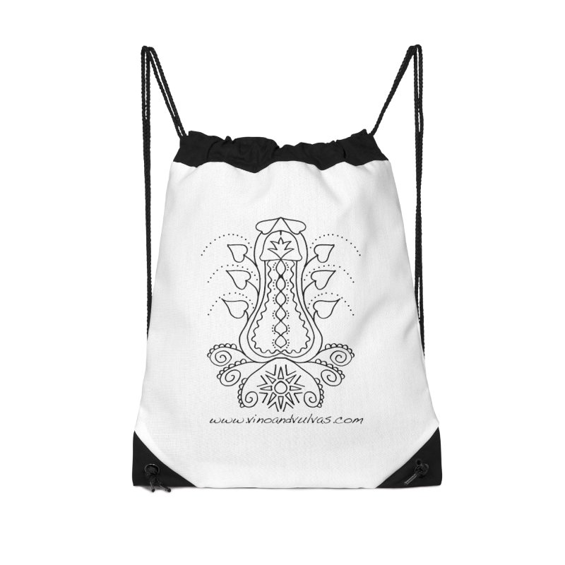 Goddess Cock Accessories Drawstring Bag Bag by Vino & Vulvas Artist Shop