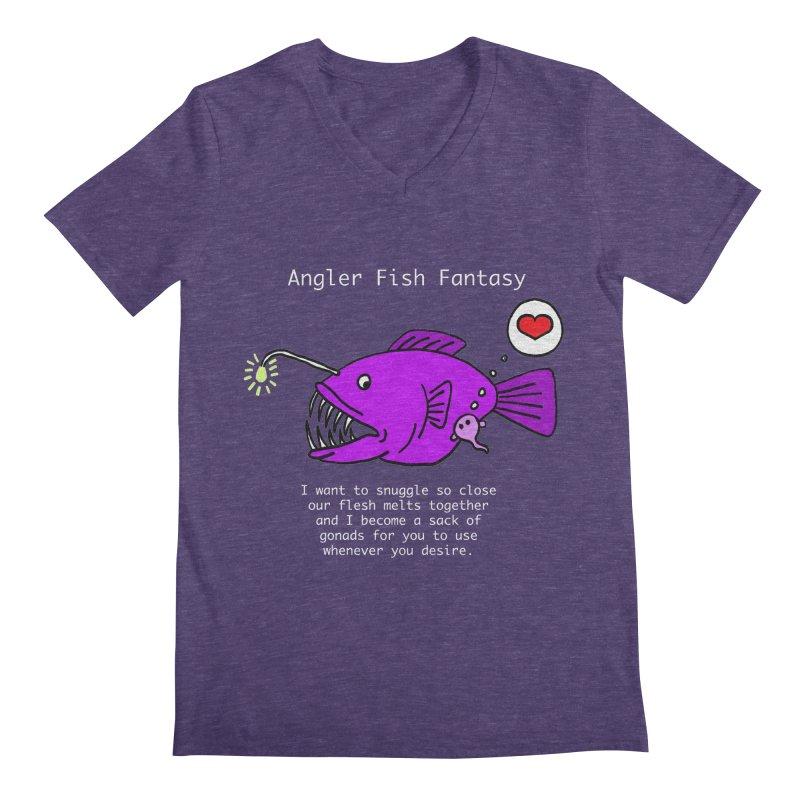 Angler Fish Fantasy Men's Regular V-Neck by Vino & Vulvas Artist Shop