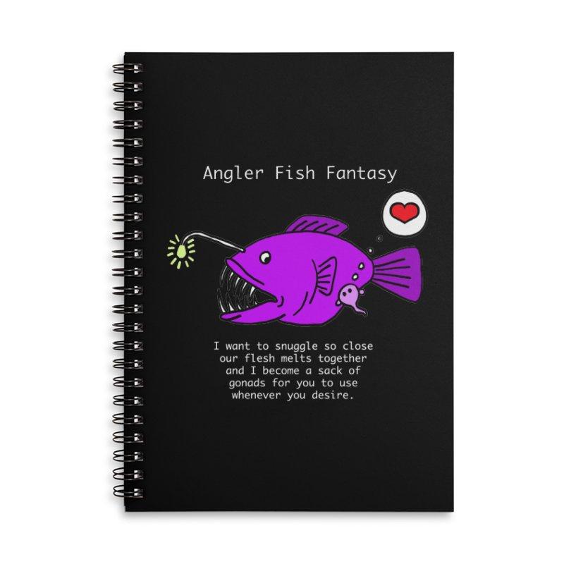 Angler Fish Fantasy Accessories Lined Spiral Notebook by Vino & Vulvas Artist Shop