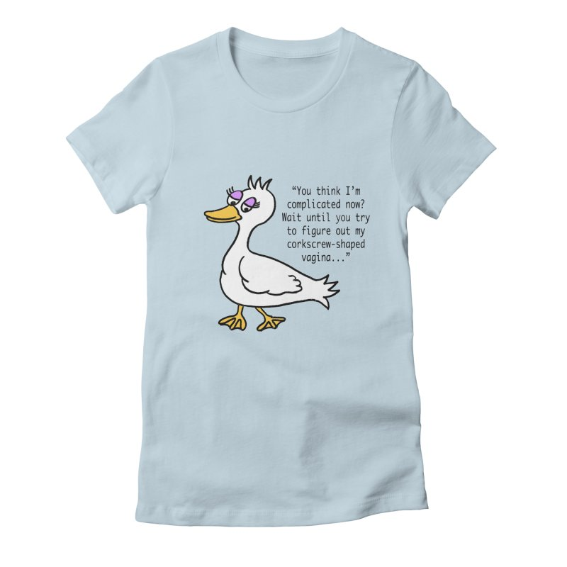 Duck Thoughts Women's Fitted T-Shirt by Vino & Vulvas Artist Shop