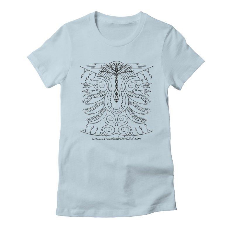 Eden Women's Fitted T-Shirt by Vino & Vulvas Artist Shop