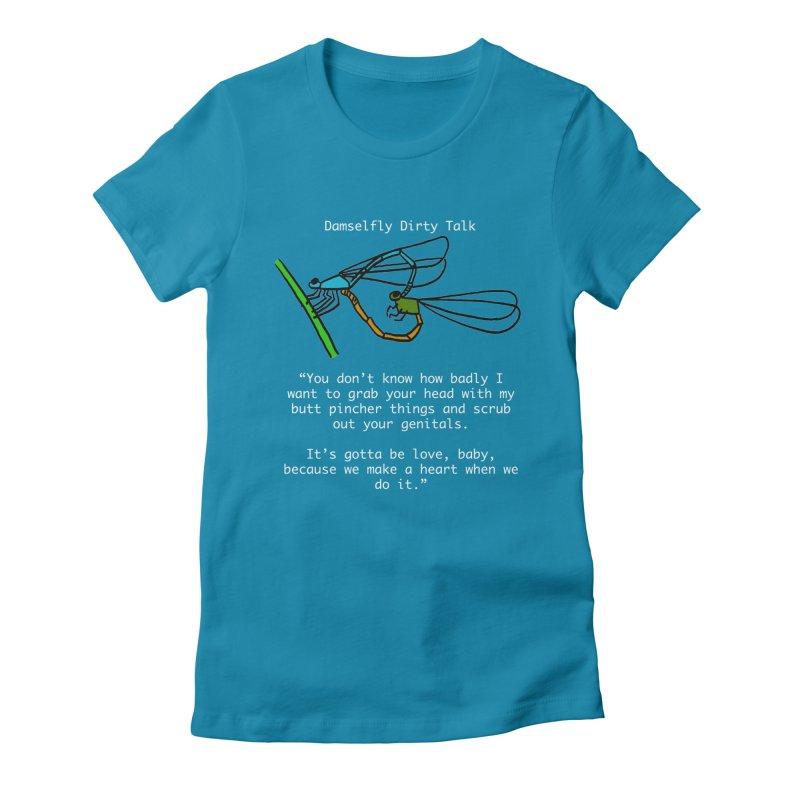 Damselfly Dirty Talk Women's Fitted T-Shirt by Vino & Vulvas Artist Shop