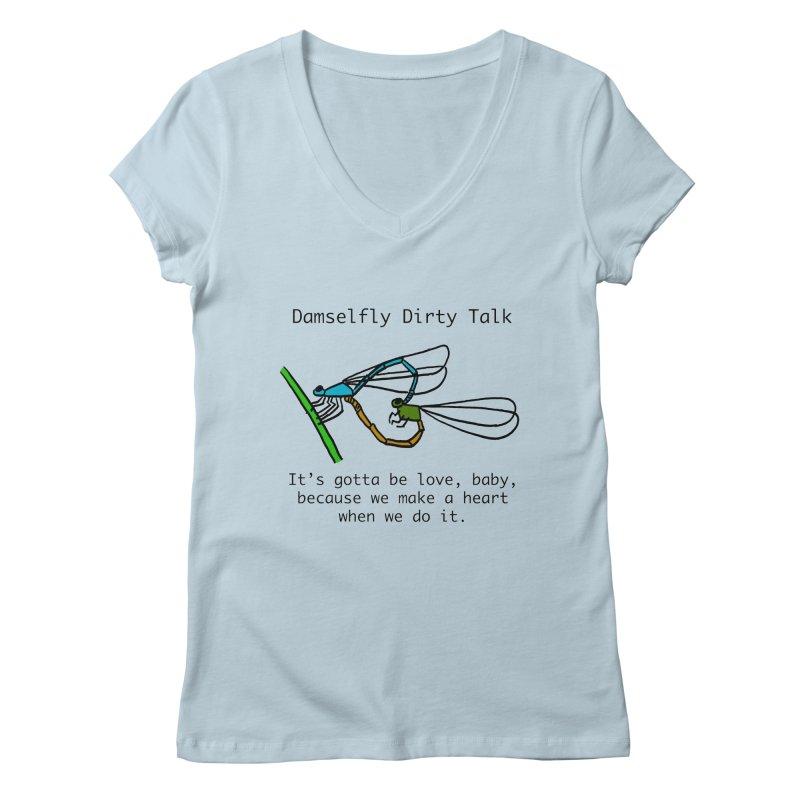 Damselfly Dirty Talk Women's Regular V-Neck by Vino & Vulvas Artist Shop