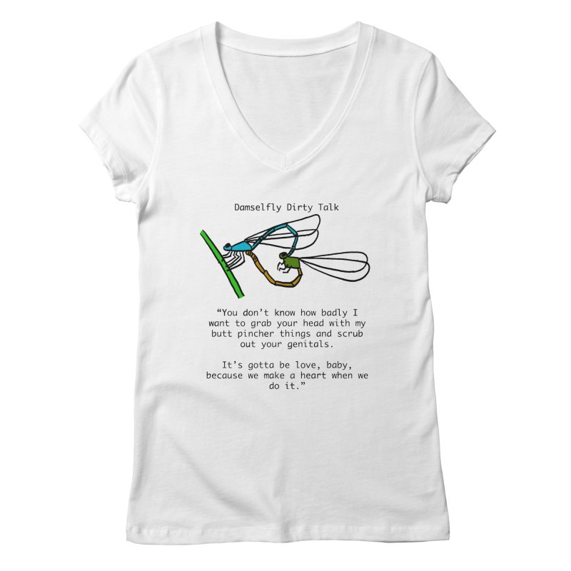 Damselfly Dirty Talk Women's Regular V-Neck by Vino & Vulvas Artist Shop