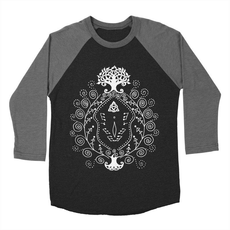 Celtic Clit (white) Men's Baseball Triblend Longsleeve T-Shirt by Vino & Vulvas Artist Shop