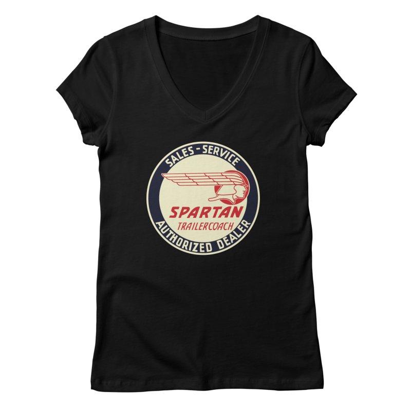 Spartan Vintage Trailer Logo Women's V-Neck by Vintage 55 Restorations