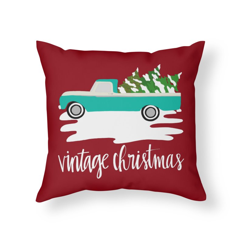 Vintage Christmas Home Throw Pillow by Vintage 55 Restorations
