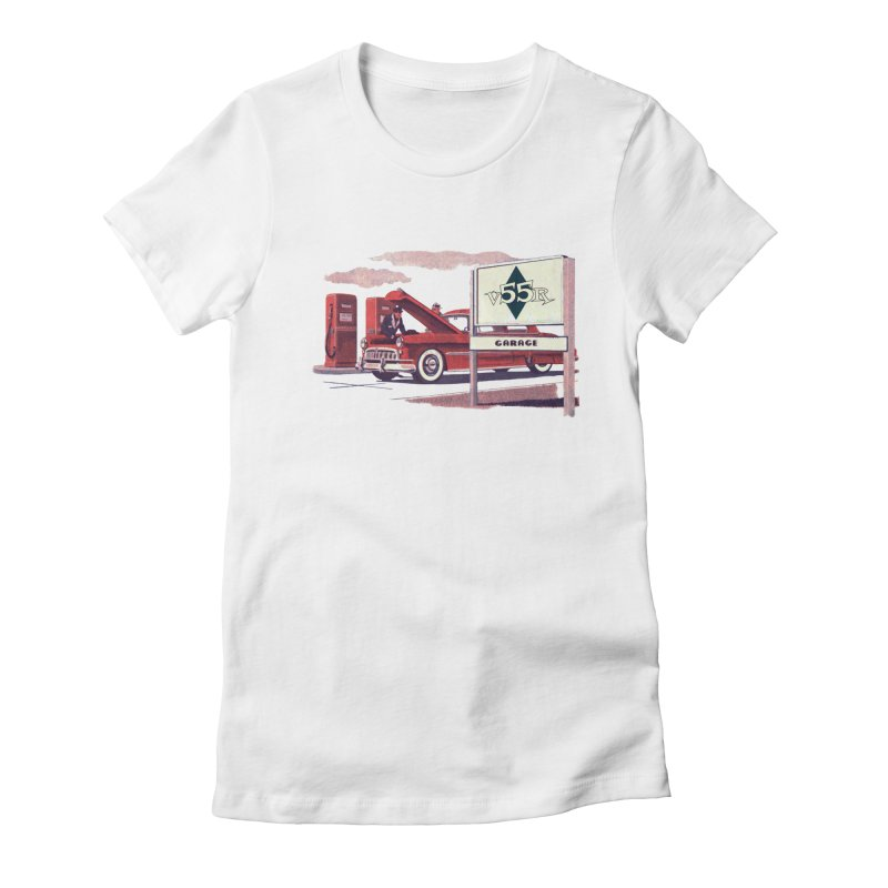 Vintage 55 Garage service Women's Fitted T-Shirt by Vintage 55 Restorations
