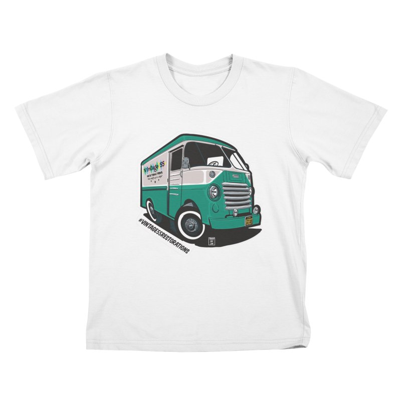 Grumman Olson shop van Kids T-Shirt by Vintage 55 Restorations