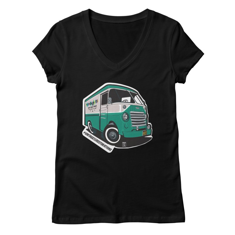 Grumman Olson shop van Women's V-Neck by Vintage 55 Restorations