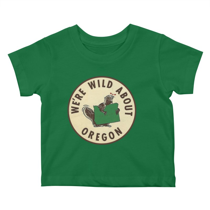 Wild About Oregon Beaver Kids Baby T-Shirt by Vintage 55 Restorations