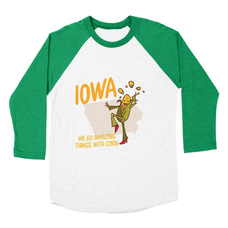 Iowa: We Do Amazing Things With Corn Men's Baseball Triblend T-Shirt by Vintage Pop Tee's Artist Shop