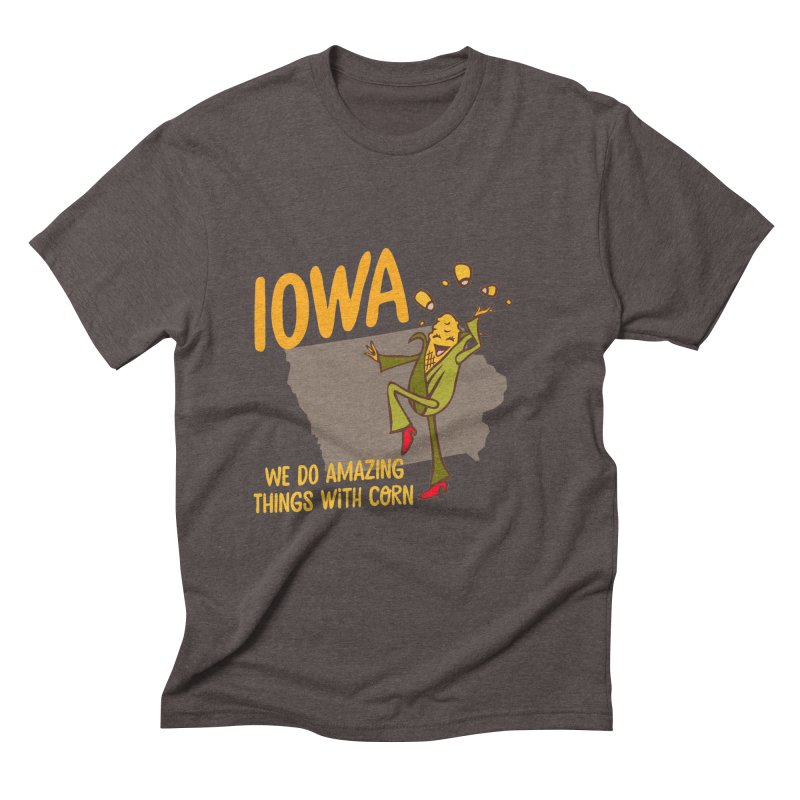 Iowa: We Do Amazing Things With Corn Men's Triblend T-shirt by Vintage Pop Tee's Artist Shop