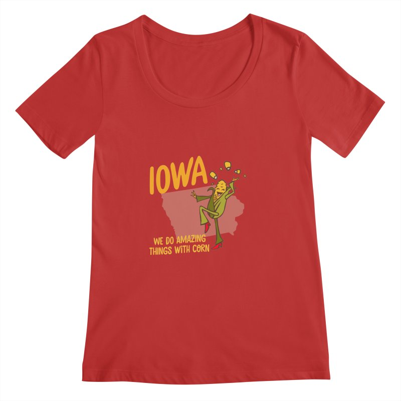 Iowa: We Do Amazing Things With Corn Women's Scoopneck by Vintage Pop Tee's Artist Shop