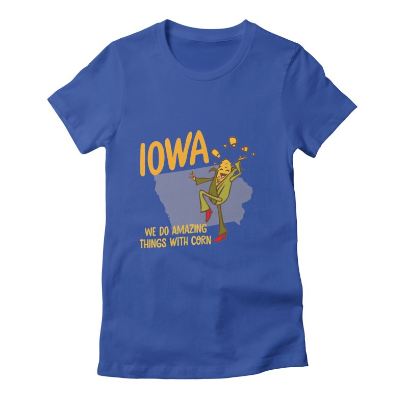 Iowa: We Do Amazing Things With Corn Women's Fitted T-Shirt by Vintage Pop Tee's Artist Shop