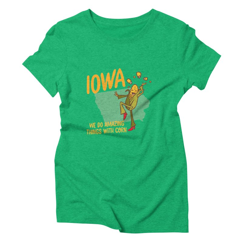 Iowa: We Do Amazing Things With Corn Women's Triblend T-Shirt by Vintage Pop Tee's Artist Shop