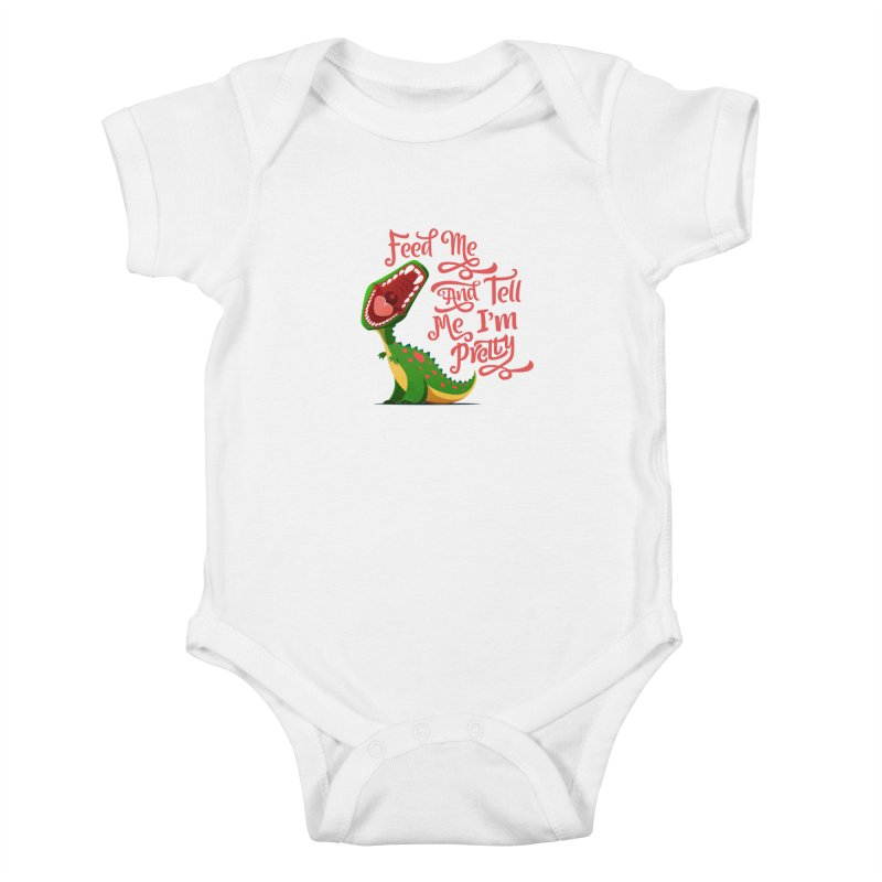 Feed Me & Tell Me I'm Pretty Kids Baby Bodysuit by Vintage Pop Tee's Artist Shop