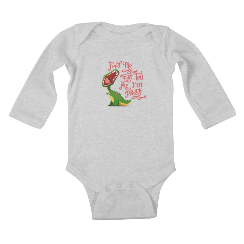 Feed Me & Tell Me I'm Pretty Kids Baby Longsleeve Bodysuit by Vintage Pop Tee's Artist Shop