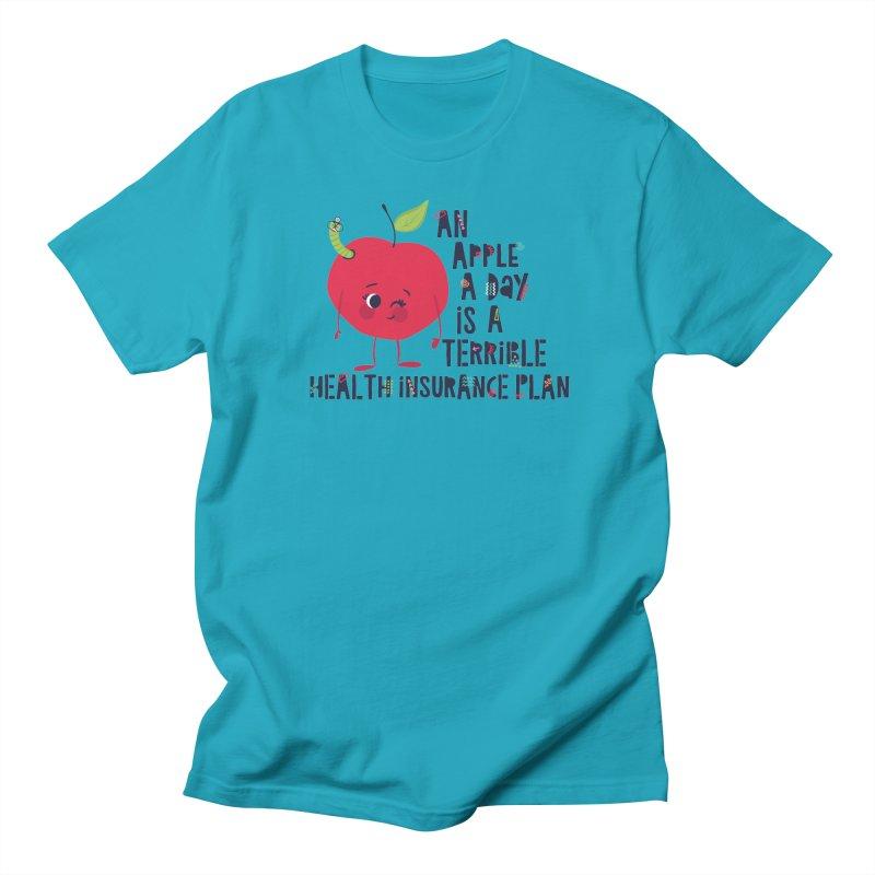 An Apple  A Day is a Terrible Health Insurance Plan Men's Regular T-Shirt by Vintage Pop Tee's Artist Shop