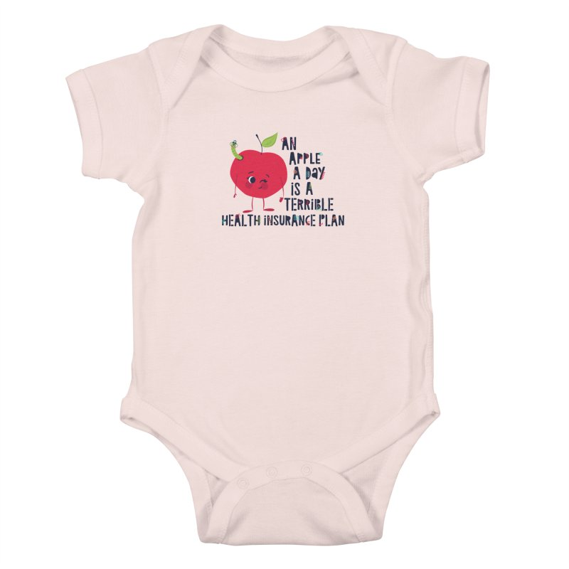 An Apple  A Day is a Terrible Health Insurance Plan Kids Baby Bodysuit by Vintage Pop Tee's Artist Shop