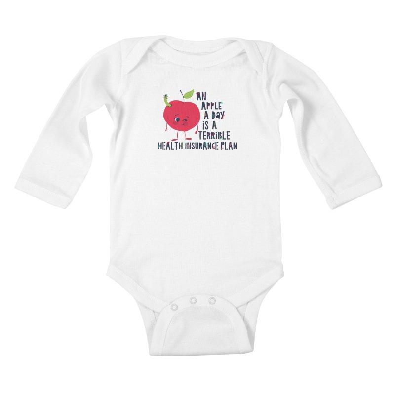 An Apple  A Day is a Terrible Health Insurance Plan Kids Baby Longsleeve Bodysuit by Vintage Pop Tee's Artist Shop