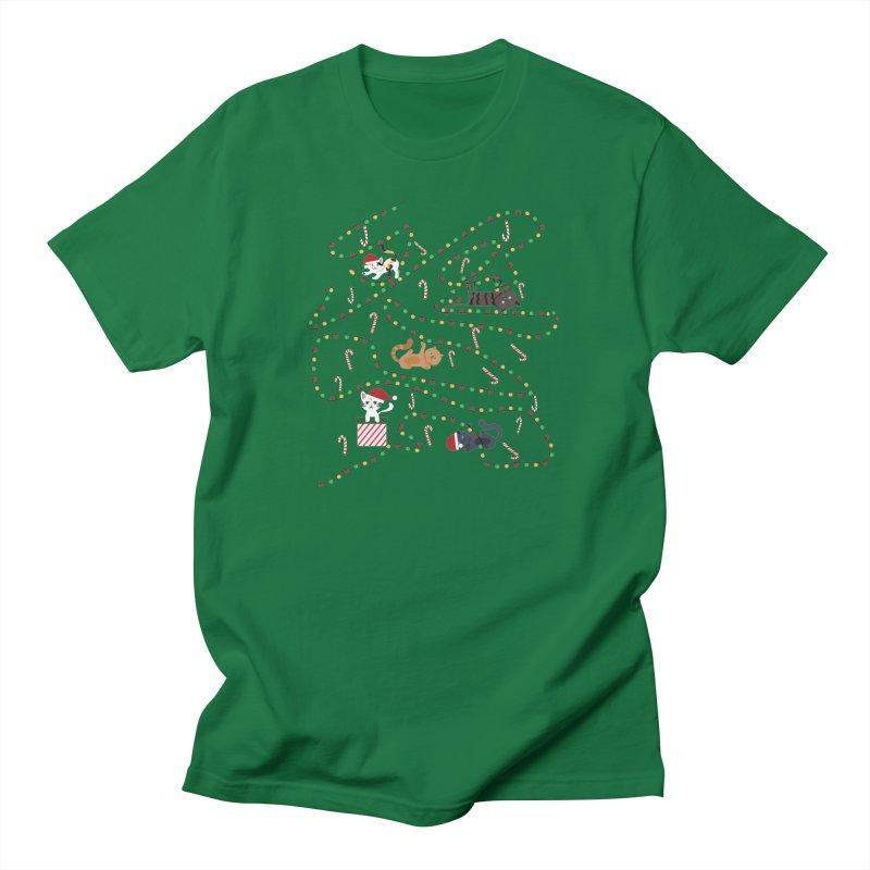 Cat Lights Men's T-Shirt by Vintage Pop Tee's Artist Shop
