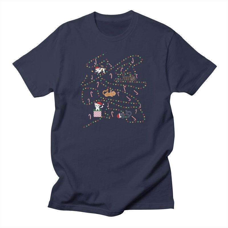 Cat Lights Men's Regular T-Shirt by Vintage Pop Tee's Artist Shop