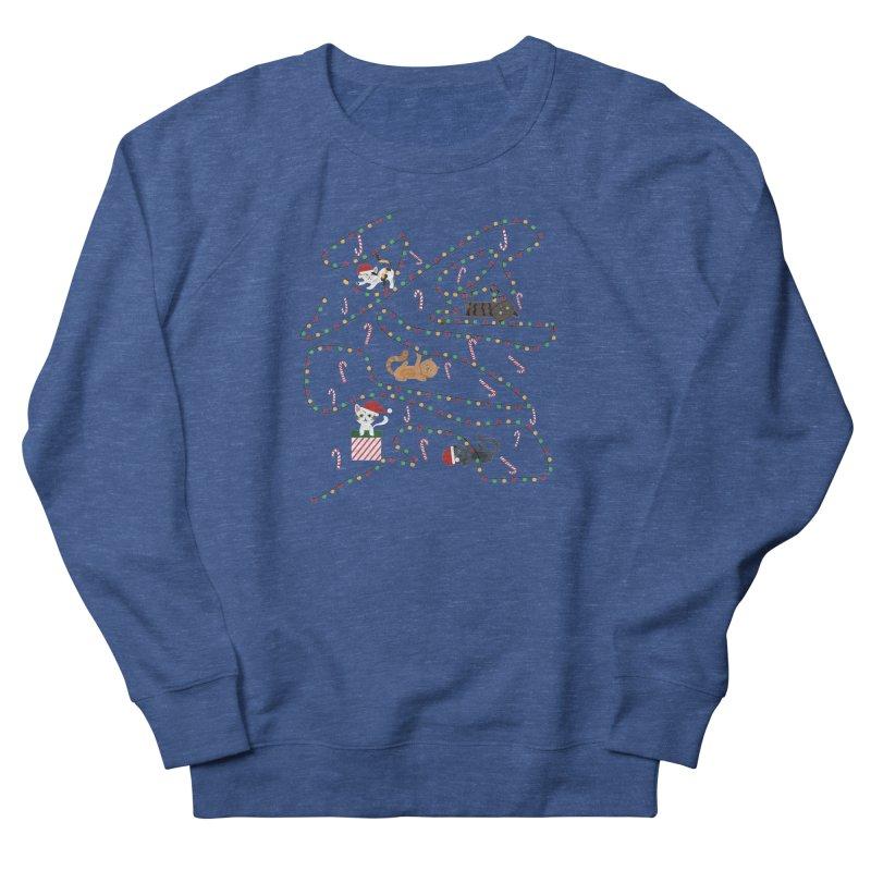 Cat Lights Men's French Terry Sweatshirt by Vintage Pop Tee's Artist Shop