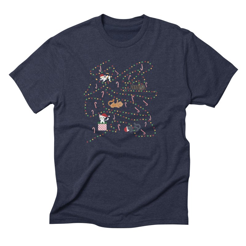 Cat Lights Men's Triblend T-Shirt by Vintage Pop Tee's Artist Shop
