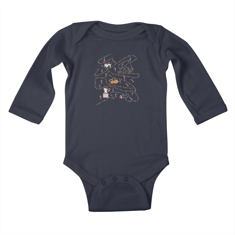 Cat Lights Kids Baby Longsleeve Bodysuit by Vintage Pop Tee's Artist Shop