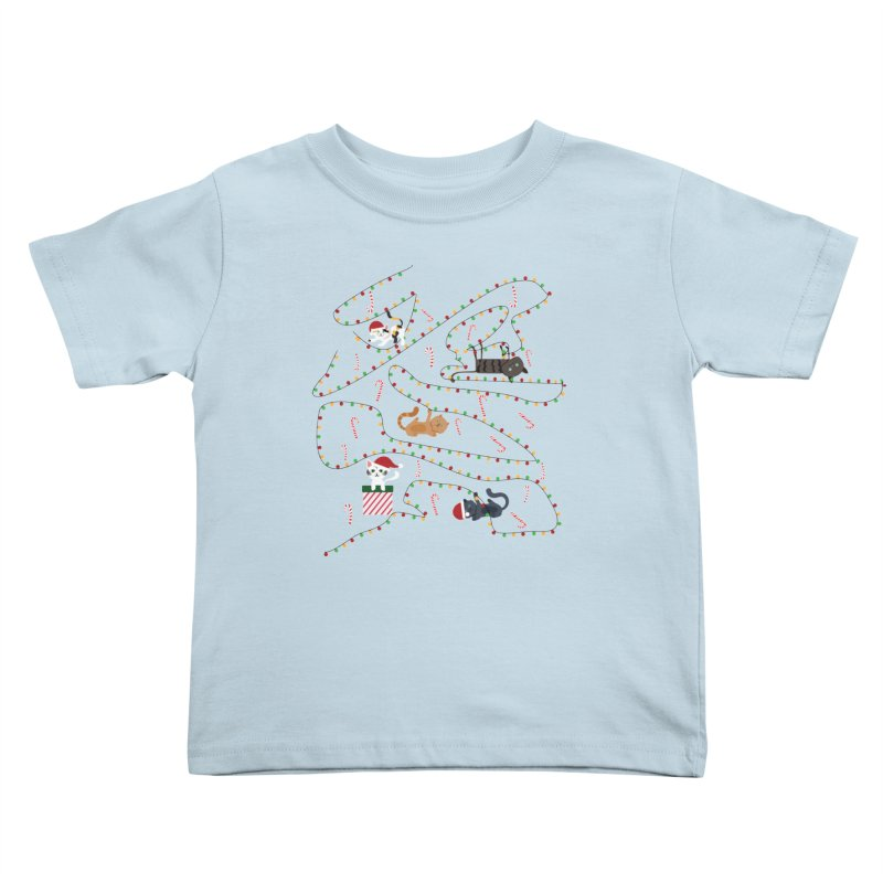 Cat Lights Kids Toddler T-Shirt by Vintage Pop Tee's Artist Shop