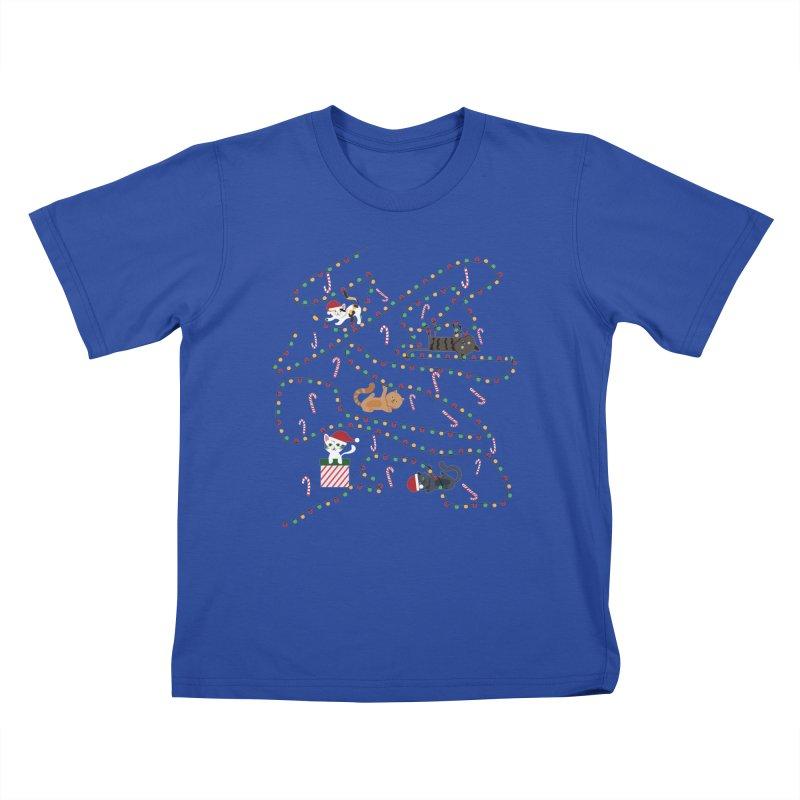 Cat Lights Kids T-Shirt by Vintage Pop Tee's Artist Shop