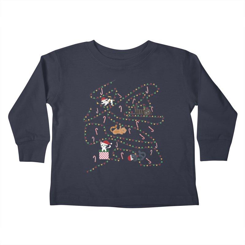 Cat Lights Kids Toddler Longsleeve T-Shirt by Vintage Pop Tee's Artist Shop