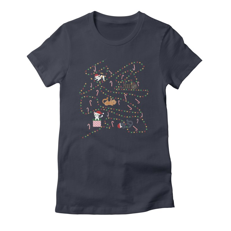 Cat Lights Women's Fitted T-Shirt by Vintage Pop Tee's Artist Shop