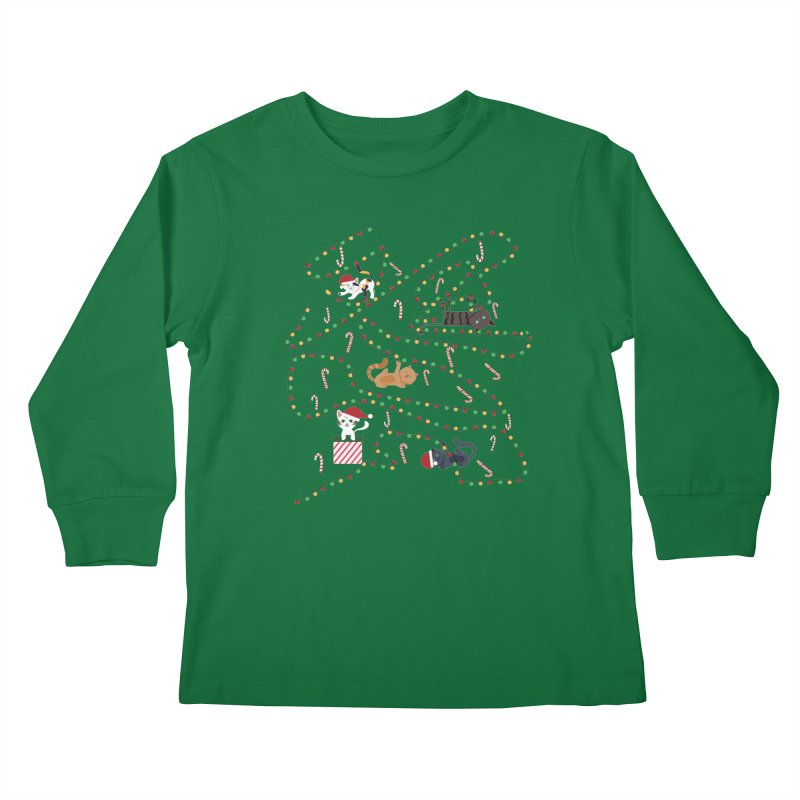 Cat Lights Kids Longsleeve T-Shirt by Vintage Pop Tee's Artist Shop