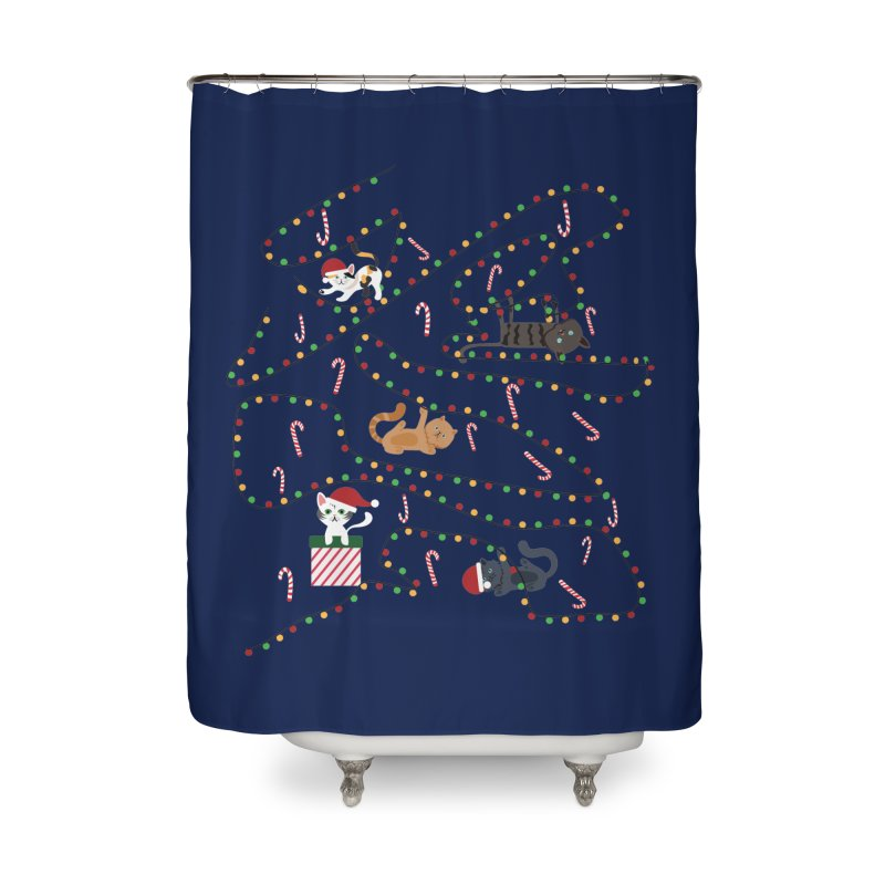 Cat Lights Home Shower Curtain by Vintage Pop Tee's Artist Shop