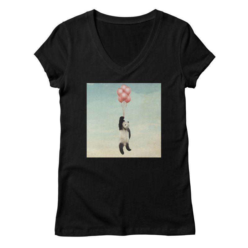 Pandaloon Women's V-Neck by vinzzep's Artist Shop