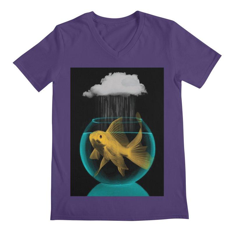 A Tight Spot in the Rain Men's V-Neck by vinzzep's Artist Shop