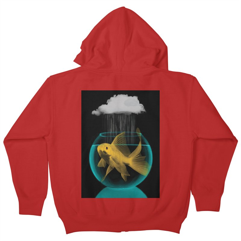 A Tight Spot in the Rain Kids Zip-Up Hoody by vinzzep's Artist Shop