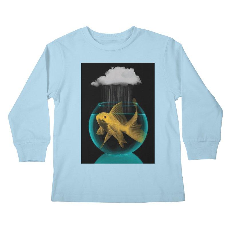 A Tight Spot in the Rain Kids Longsleeve T-Shirt by vinzzep's Artist Shop